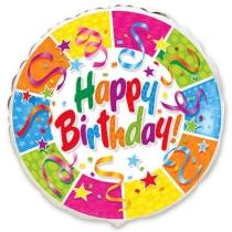 """Шар фольгированный 18"""" Круг Happy Birthday"""