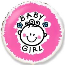 """Фольгированные шары с рисунком 1202-3041 ф 18"""" baby girl(fm)"""
