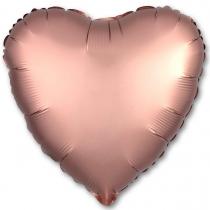 """Фольгированные шары без рисунка 1204-0830 р б/рис сердце 18"""" сатин rose gold"""