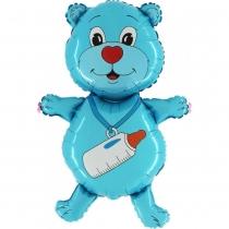 Фольгированные шары большие фигуры 1207-3140 г фигура мишка мальчик синий