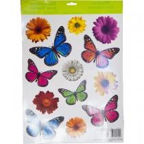 1507-0861 Наклейка на окно Бабочки Цветы 13шт/A