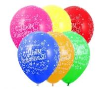 """Латексные шары круглые с рисунком 1103-0271 шелкография пастель 14"""" др звезды"""