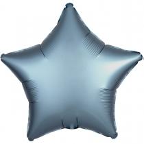 """Фольгированные шары без рисунка 3204-0072 а б/рис 18"""" звезда сатин синяя сталь s15"""