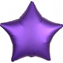 """Фольгированные шары без рисунка 3204-0073 а б/рис 18"""" звезда сатин фиолетовая s15"""