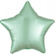 """Фольгированные шары без рисунка 3204-0575 а б/рис 18"""" звезда сатин мятная s15"""