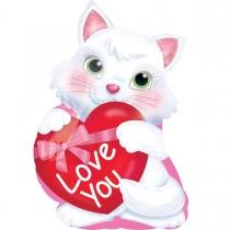 Фольгированные шары большие фигуры 3207-0071 а фигура/s50 ily котенок с сердцем