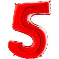 """Шар цифра """"5"""" Красный 40""""/102 см"""