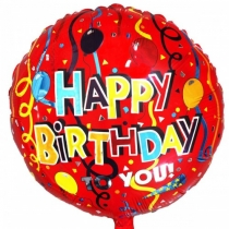 "Шар фольгированный 18"" Круг Happy Birthday to you"
